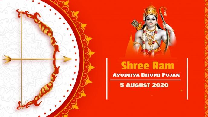 Ayodhya Bhumi Pujan Vídeo de portada de Facebook (16:9) template