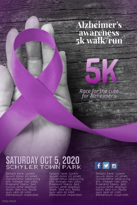 Azheimer's Disease 5k Run Walk Flyer Template
