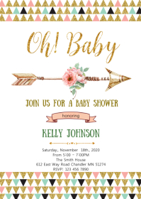 Aztec tribal baby shower invitation
