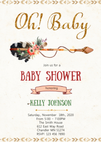 Aztec tribal baby shower invitation