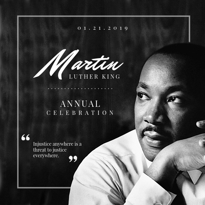 B&W Martin Luther King Day Flyer Square Instagram-opslag template