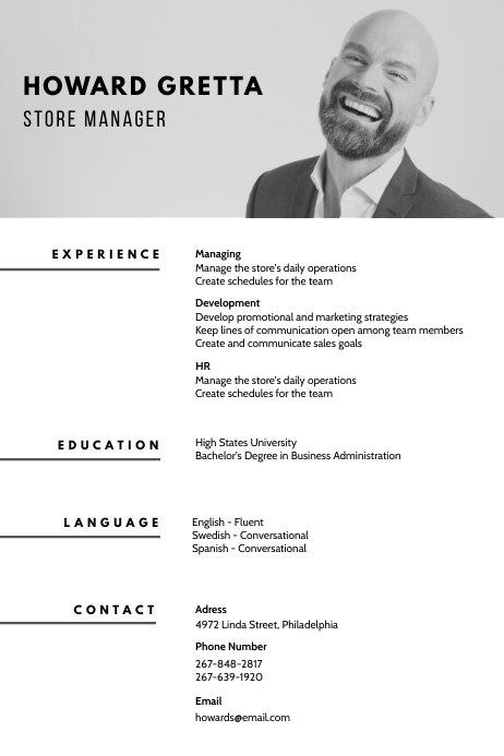 B W Professional Marketer Cv Resume Template Postermywall