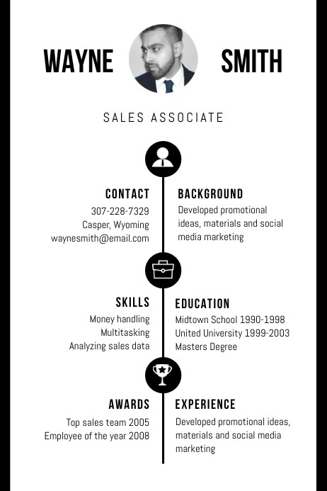 B&W Professional Marketing CV Resume