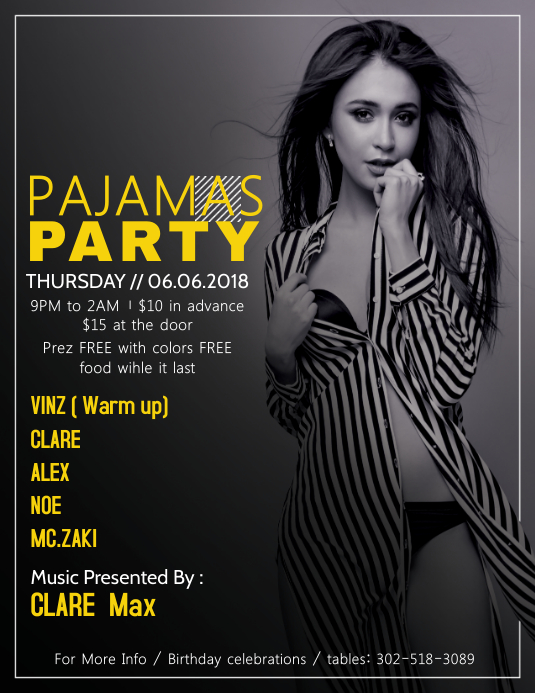 Bw Pajama Party Flyer Template Postermywall