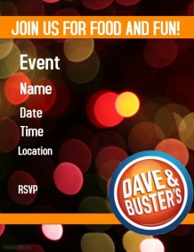 Dave $ Buster's Party Invitation