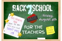 School Teacher Chalkboard Notebook Post It Blackboard Chalk Event Education Flyer