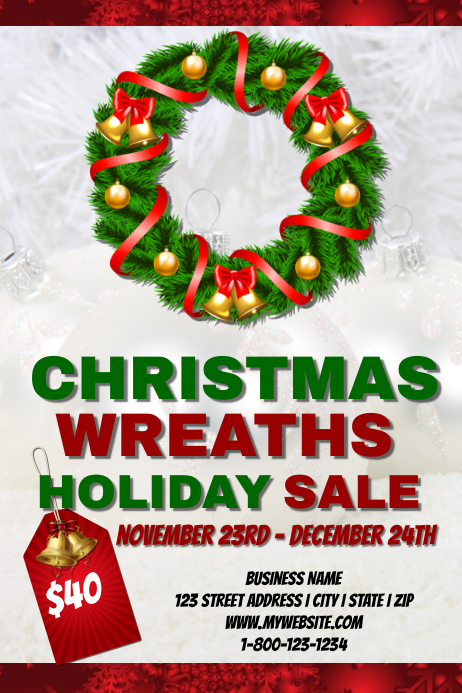 Christmas Wreath Sale Event Templaate Template Postermywall