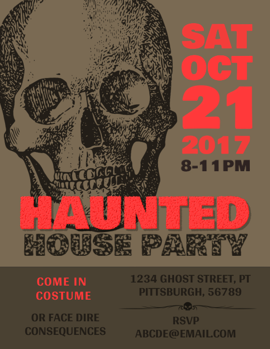Haunted Party Halloween Poster Template Folheto (US Letter)