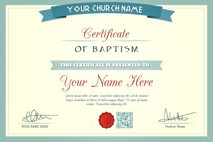 water baptism certificate template