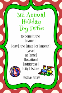Childrens Christmas Fundraiser Party Invitation Announcement