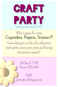 Craft Party Poster/Template