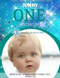 Baby's first birthday party template Flyer (Letter pang-US)