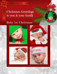 Baby 1st Christmas Greeting Card Volante (Carta US) template