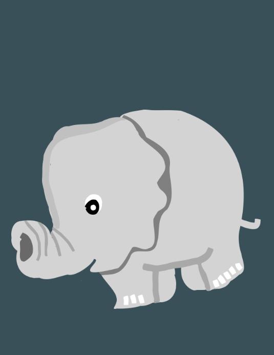 Baby announcement elephant Løbeseddel (US Letter) template