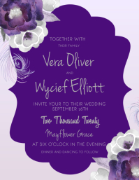 Violet Floral Wedding Invitation