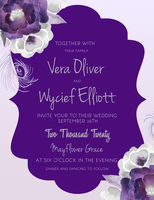 Violet Floral Wedding Invitation