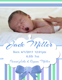 Baby Announcement Pamflet (Letter AS) template