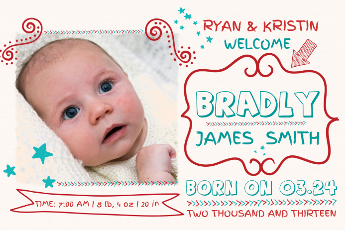 customize 2 120  baby announcement templates