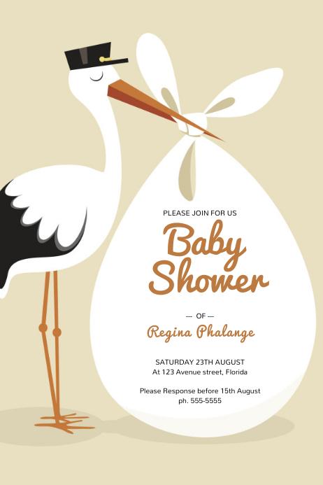 baby Announcement Shower Flyer Template Plakat