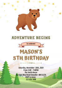 Baby bear party Invitation A6 template