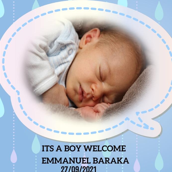 Baby birth announcement Instagram Post template