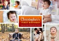 Baby Birthday Collage Template Kartu Pos