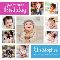 Baby Birthday Collage Template Instagram Post