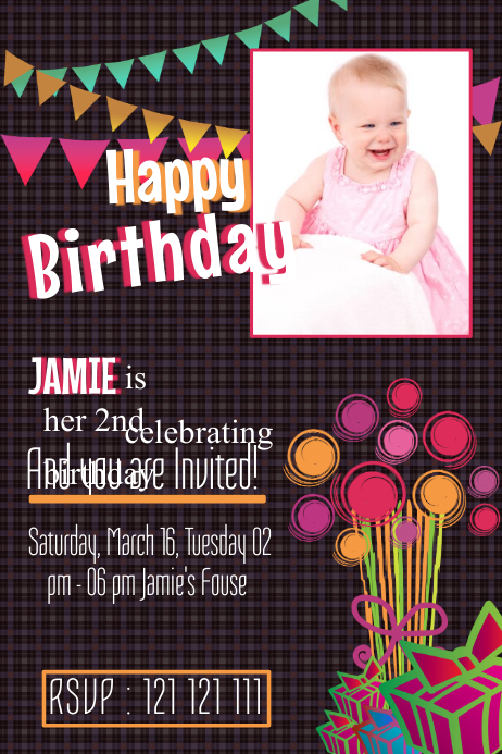 Baby Birthday Poster Template