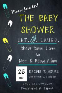 Baby Boy Chalk Invite