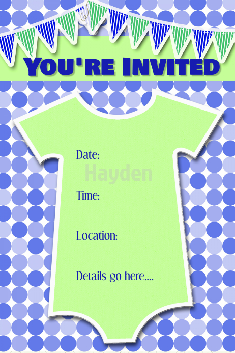 baby boy birthday party invitation announcement poster flyer