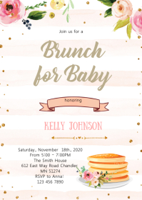 Baby brunch party invitation A6 template
