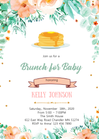 Baby brunch shower invitation A6 template