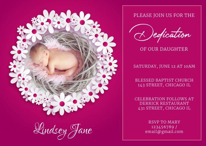 Baby dedication invite Postcard template