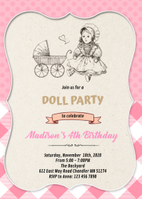 Baby doll birthday party invitation A6 template