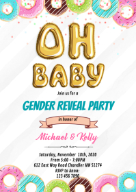 Baby Donut gender reveal party invitation A6 template