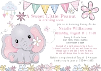 Baby Elephant Floral Books for Baby Shower Postcard template
