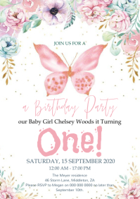 Baby first birthday party Invitation Template A4