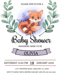 Baby Fox Baby shower Invitation Template