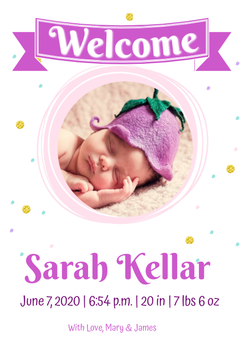 Baby girl Announcement A4 template