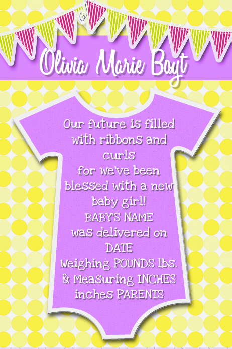 Baby Girl Invitation Announcement Collage flyer poster