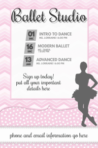 Baby Girl Pink Ballet Dance Girls Flyer Poster announcement