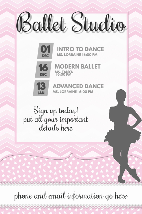 baby girl pink ballet dance girls flyer poster announcement template