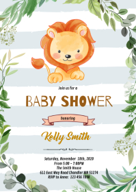 Baby lion invitation A6 template