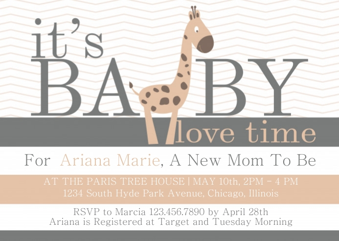 Baby Love, Baby Giraffe Baby Shower Invite