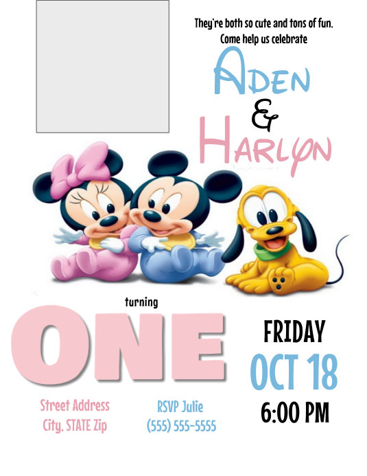 Baby Mickey And Minnie Birthday Invitation Template Postermywall