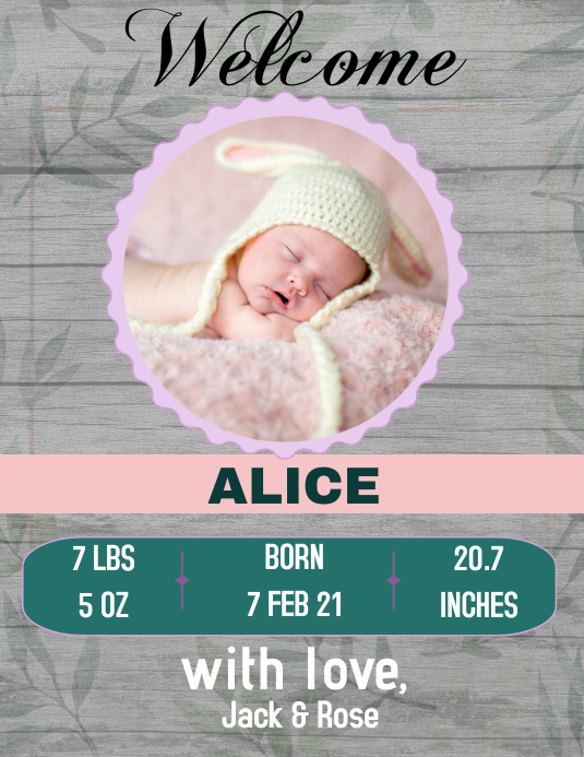 BABY NEW BORN SINGLE Flyer (US Letter) template
