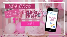 Baby Online Birthday Party Invite Digital Display (16:9) template