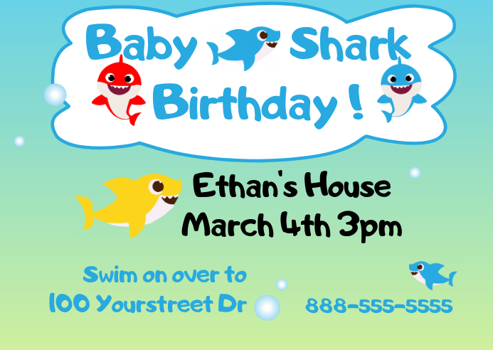 Baby Shark Birthday Announcement