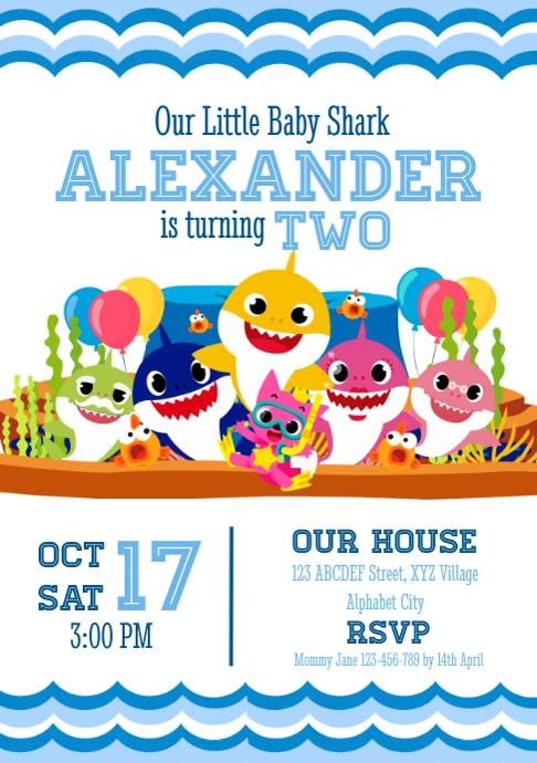 Baby Shark Birthday Invitation A4 template