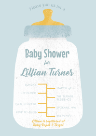 Baby Shower Blue Baby Bottle Invitation